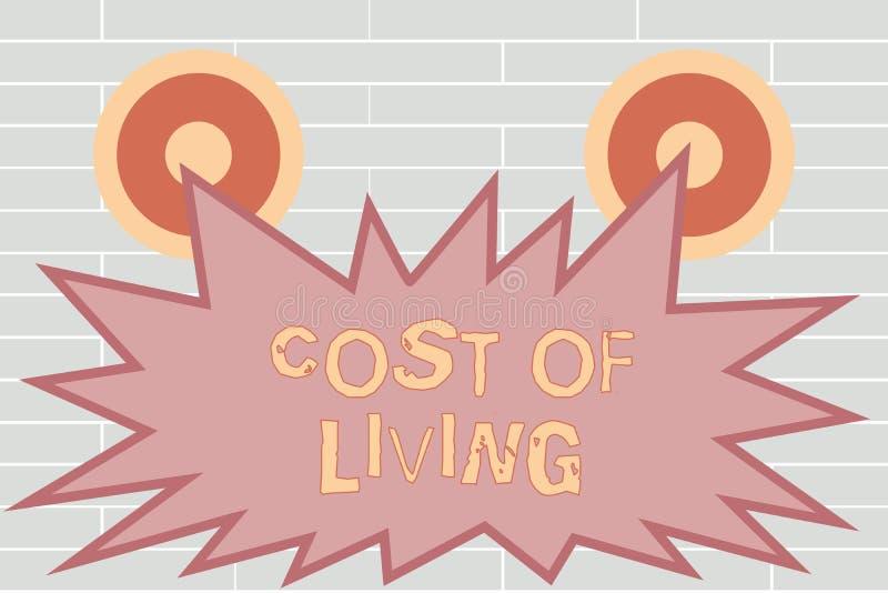 Κόστος γραψίματος κειμένων γραφής ζωής Έννοια που σημαίνει το επίπεδο τιμών σχετικά με μια σειρά των καθημερινών στοιχείων απεικόνιση αποθεμάτων