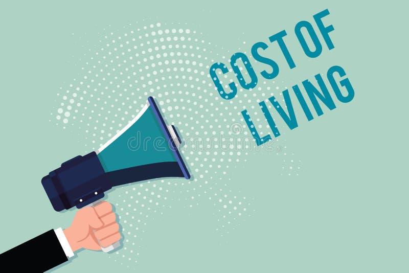 Κόστος γραψίματος κειμένων γραφής ζωής Έννοια που σημαίνει το επίπεδο τιμών σχετικά με μια σειρά των καθημερινών στοιχείων διανυσματική απεικόνιση