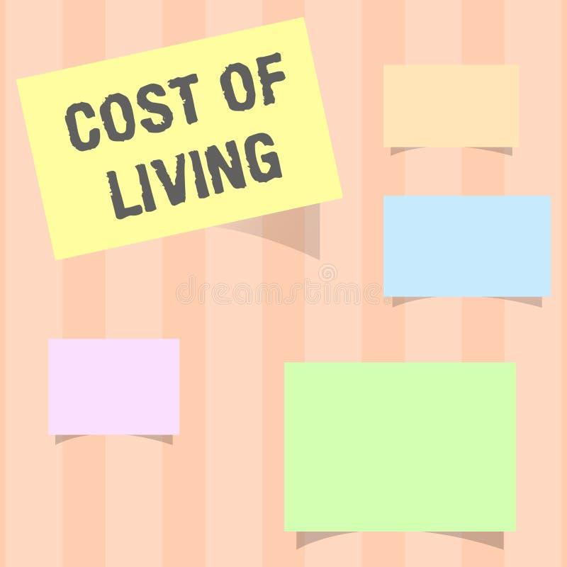 Κόστος κειμένων γραφής ζωής Έννοια που σημαίνει το επίπεδο τιμών σχετικά με μια σειρά των καθημερινών στοιχείων διανυσματική απεικόνιση