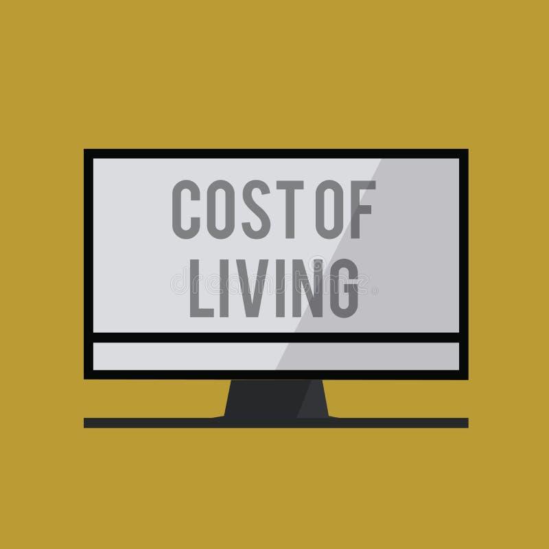 Κόστος κειμένων γραφής ζωής Έννοια που σημαίνει το επίπεδο τιμών σχετικά με μια σειρά των καθημερινών στοιχείων απεικόνιση αποθεμάτων