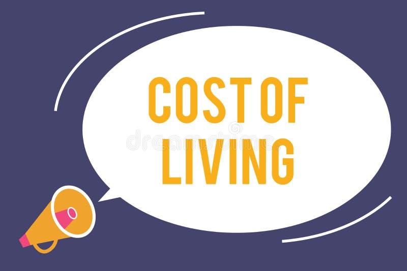 Κόστος κειμένων γραψίματος λέξης ζωής Επιχειρησιακή έννοια για το επίπεδο τιμών σχετικά με μια σειρά των καθημερινών στοιχείων απεικόνιση αποθεμάτων