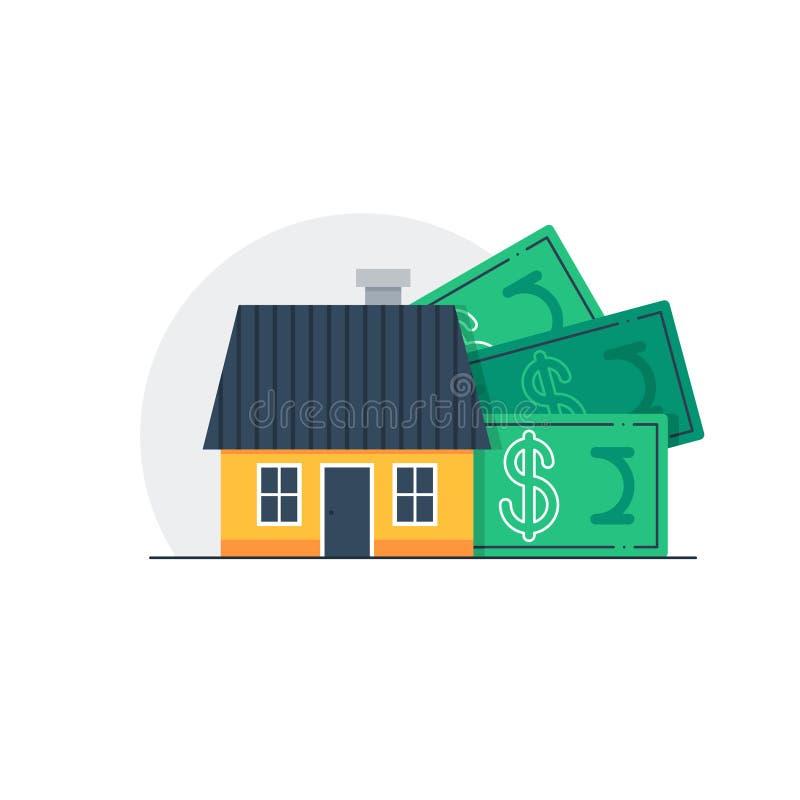 Κόστος σπιτιών, έννοια εγχώριων προϋπολογισμών, δαπάνες ιδιοκτησίας ελεύθερη απεικόνιση δικαιώματος