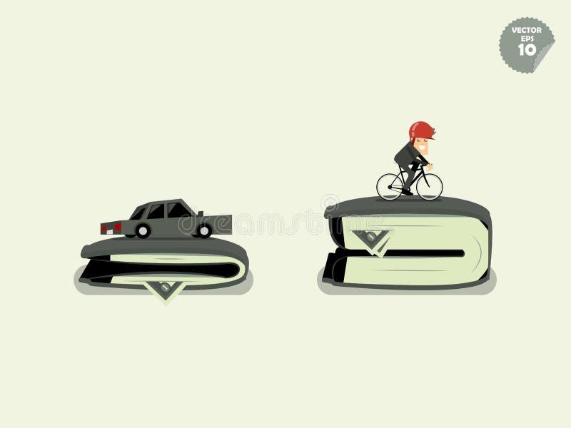 Κόστος σύγκρισης της μεταφοράς μεταξύ του αυτοκινήτου και του ποδηλάτου ελεύθερη απεικόνιση δικαιώματος