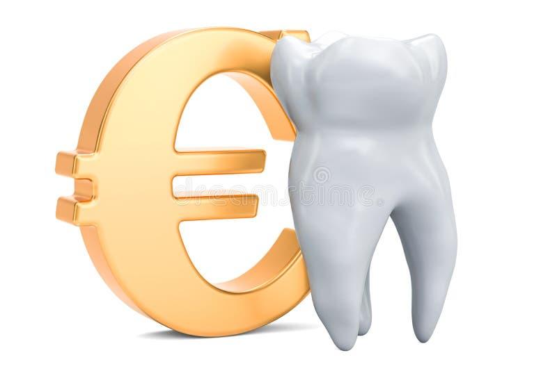 Κόστος της οδοντικής έννοιας υπηρεσιών, δόντι με το σύμβολο του ευρώ τρισδιάστατο ρ απεικόνιση αποθεμάτων
