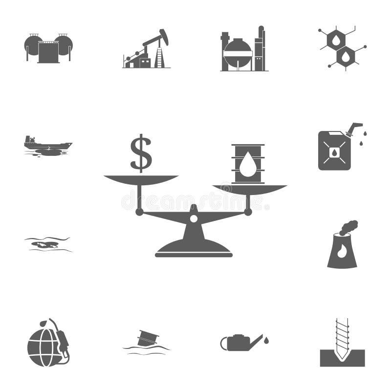 κόστος του πετρελαίου στο εικονίδιο κλιμάκων Λεπτομερές σύνολο εικονιδίων πετρελαίου Γραφικό σημάδι σχεδίου εξαιρετικής ποιότητας απεικόνιση αποθεμάτων