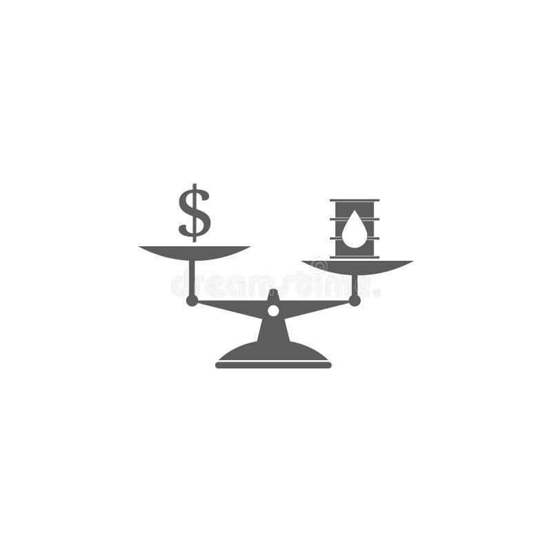 κόστος του πετρελαίου στο εικονίδιο κλιμάκων Στοιχείο του εικονιδίου πετρελαίου και φυσικού αερίου Γραφικό εικονίδιο σχεδίου εξαι διανυσματική απεικόνιση