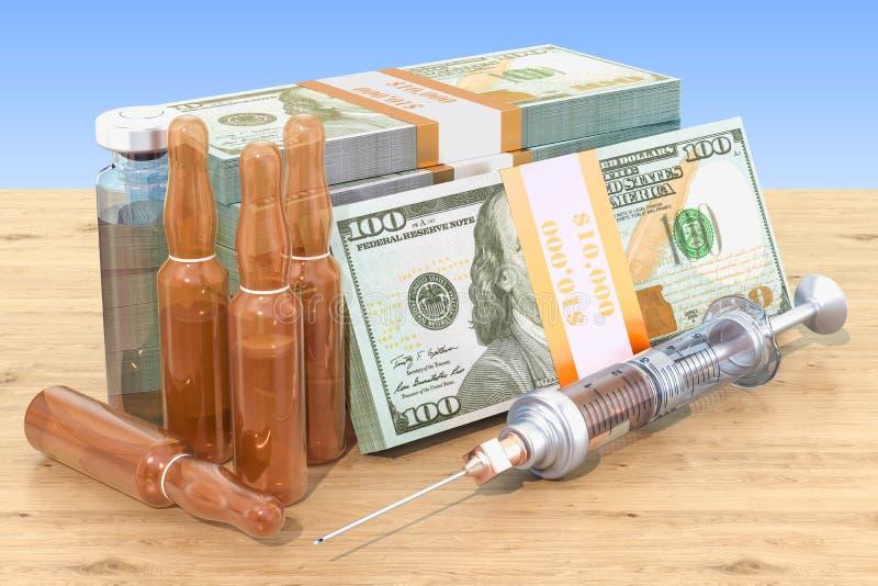 Κόστος των φαρμάκων και της έννοιας εμβολίων Φάρμακα και πακέτα δολαρίων απεικόνιση αποθεμάτων