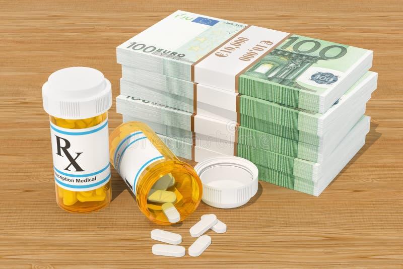 Κόστος των φαρμάκων και της έννοιας ιατρικής περίθαλψης Φάρμακα και ΕΥΡ ελεύθερη απεικόνιση δικαιώματος
