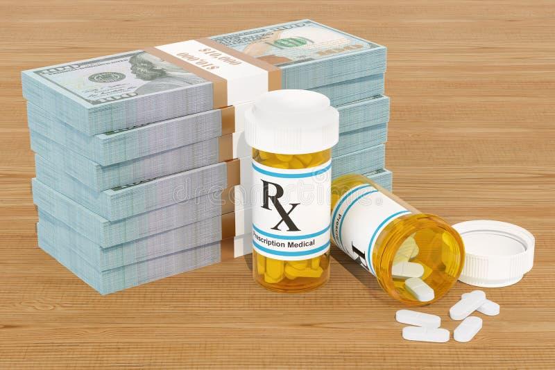 Κόστος των φαρμάκων και της έννοιας ιατρικής περίθαλψης Φάρμακα και dol διανυσματική απεικόνιση