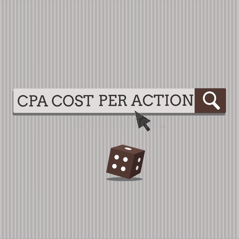 Κόστος Cpa κειμένων γραφής ανά δράση Η έννοια που σημαίνει την Επιτροπή πλήρωσε πότε ο χρήστης χτυπά σε μια σύνδεση θυγατρικών διανυσματική απεικόνιση