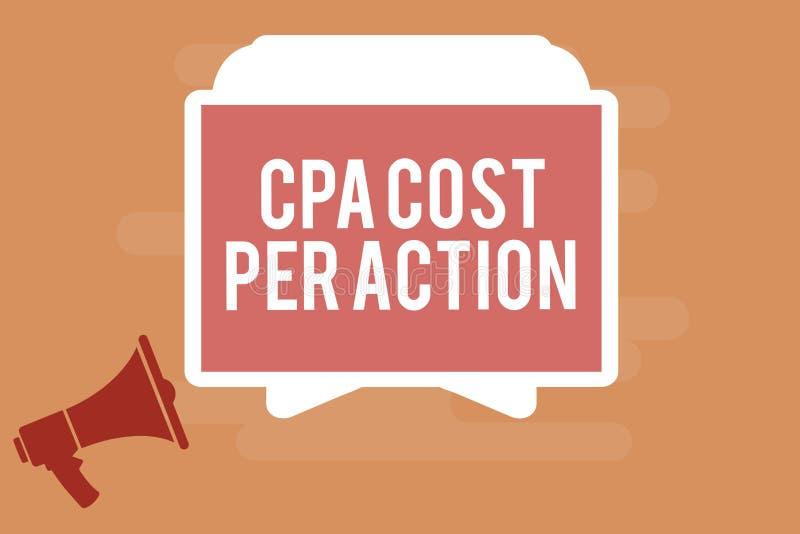 Κόστος Cpa κειμένων γραψίματος λέξης ανά δράση Η επιχειρησιακή έννοια για την Επιτροπή πλήρωσε πότε ο χρήστης χτυπά σε μια σύνδεσ διανυσματική απεικόνιση