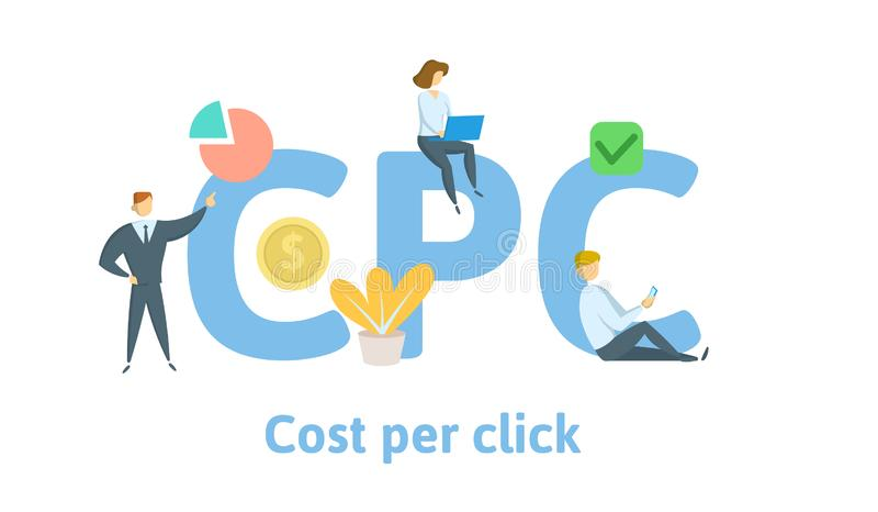Κόστος CPC ανά κρότο Έννοια με τις λέξεις κλειδιά, τις επιστολές, και τα εικονίδια Επίπεδη διανυσματική απεικόνιση η ανασκόπηση α απεικόνιση αποθεμάτων