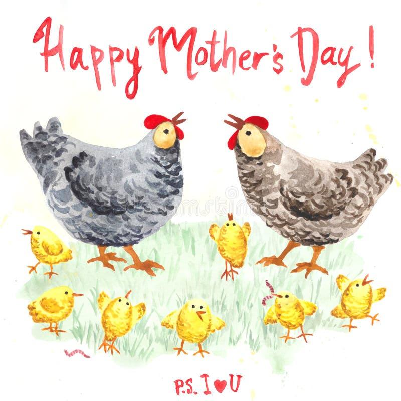 Κότα μητέρων με τη ευχετήρια κάρτα κοτόπουλου ελεύθερη απεικόνιση δικαιώματος
