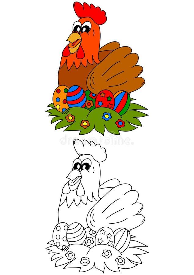 Κότες με τα χρωματισμένα αυγά Πάσχας ως χρωματισμό για τα παιδάκια διανυσματική απεικόνιση