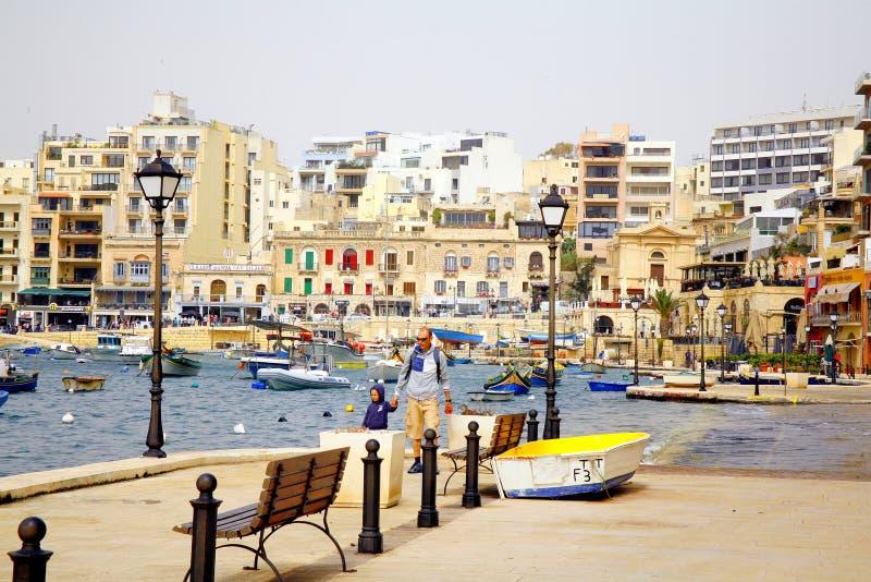 Κόλπος StJulian ` s, Μάλτα στοκ φωτογραφία με δικαίωμα ελεύθερης χρήσης