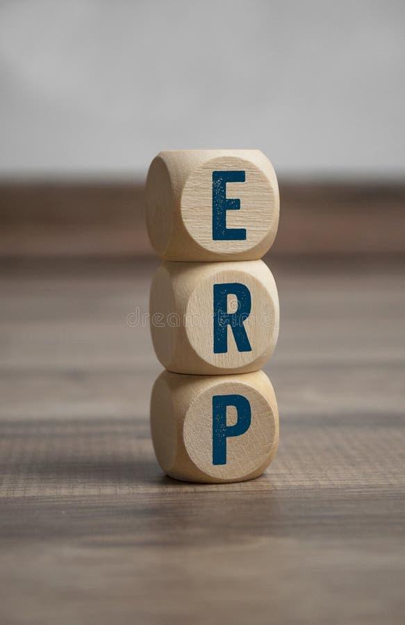 Κύβοι και ζάρια με ERP Enterprise-Resource-Plan στοκ φωτογραφία με δικαίωμα ελεύθερης χρήσης