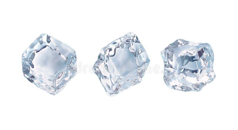 Κύβοι πάγου καθορισμένοι απομονωμένοι στο άσπρο υπόβαθρο ελεύθερη απεικόνιση δικαιώματος