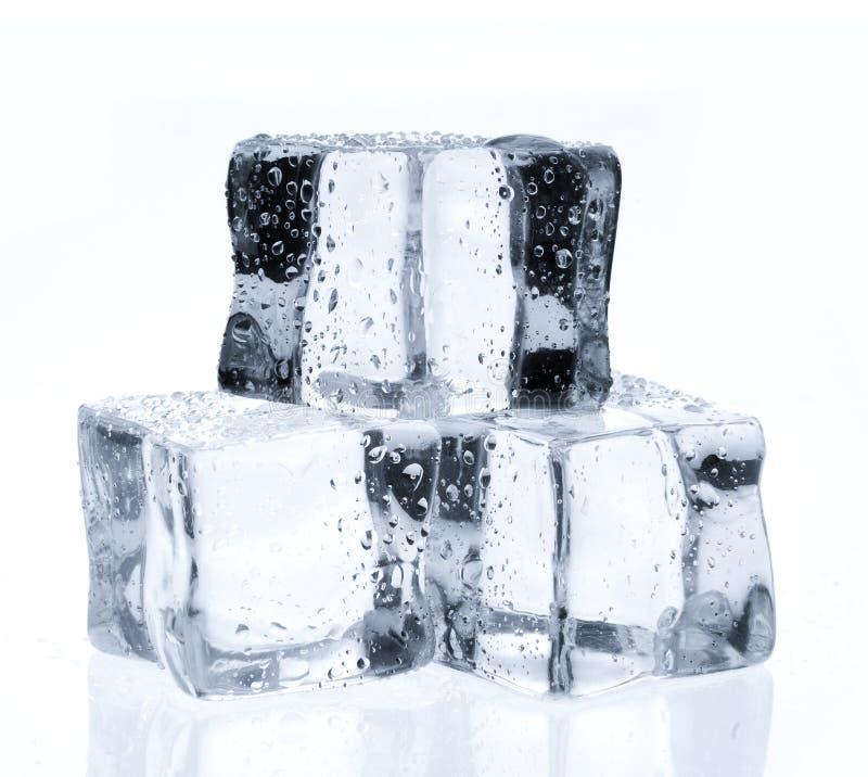 Κύβοι πάγου με τις πτώσεις νερού στο λευκό στοκ εικόνες
