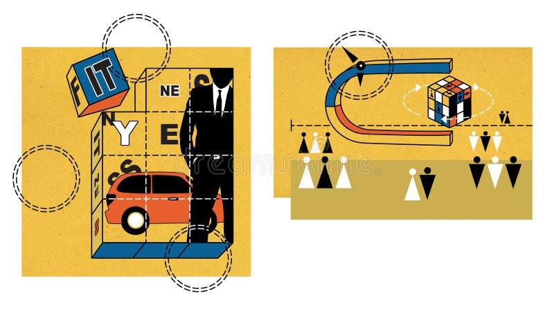 Κύβοι παιχνιδιών που συσσωρεύονται σε μια εικόνα με μια γλυπτική ενός νεαρού άνδρα σε ένα κοστούμι στα πλαίσια ενός κόκκινου αυτο απεικόνιση αποθεμάτων