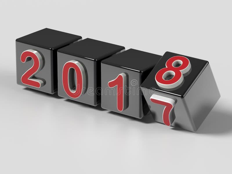 2018 κύβοι που περιστρέφονται την αλλαγή έτους ελεύθερη απεικόνιση δικαιώματος