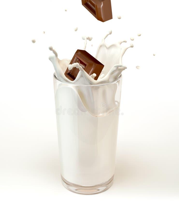 Κύβοι σοκολάτας που καταβρέχουν σε ένα γυαλί γάλακτος  στο άσπρο υπόβαθρο. στοκ φωτογραφίες με δικαίωμα ελεύθερης χρήσης
