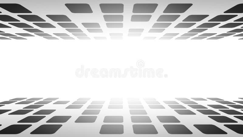 Κύβοι στο εικονικό κενό δωμάτιο πραγματικότητας κυβερνοχώρου με τη φλόγα στο άσπρο υπόβαθρο, τρισδιάστατη απεικόνιση ελεύθερη απεικόνιση δικαιώματος