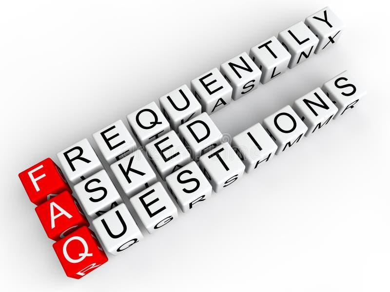 Κύβοι FAQ διανυσματική απεικόνιση