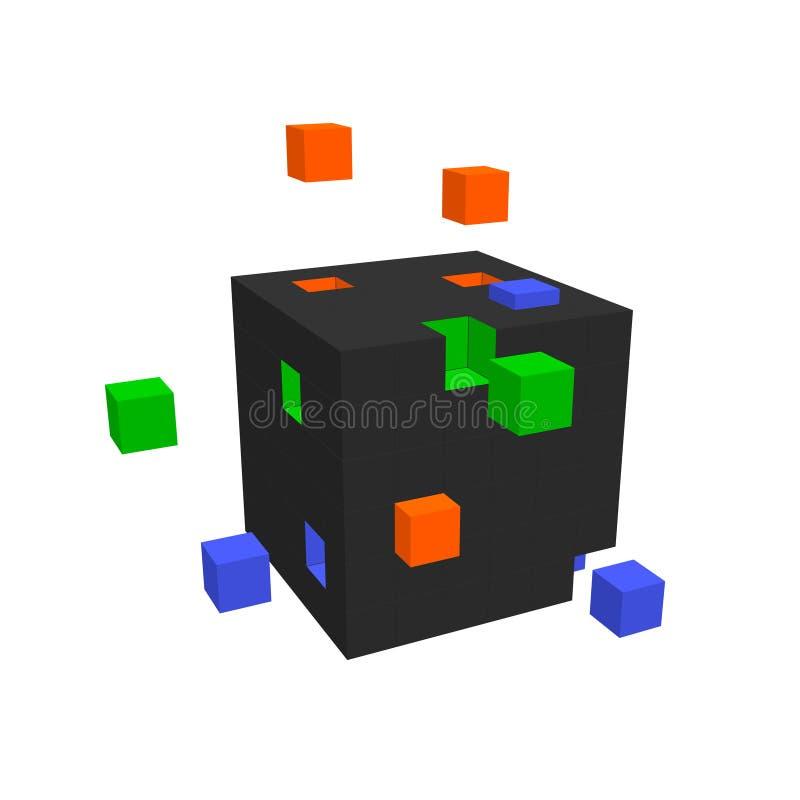 Κύβος από τους μικρούς κύβους Μεγάλη έννοια στοιχείων διανυσματική απεικόνιση