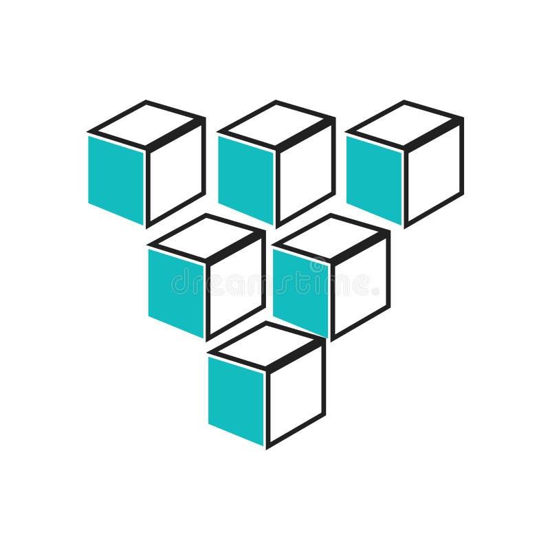 Κύβος γραφικός τετραγώνων σημαδιού και του συμβόλου εικονιδίων του διανυσματικού που απομονώνονται στο άσπρο υπόβαθρο, κύβος γραφ διανυσματική απεικόνιση