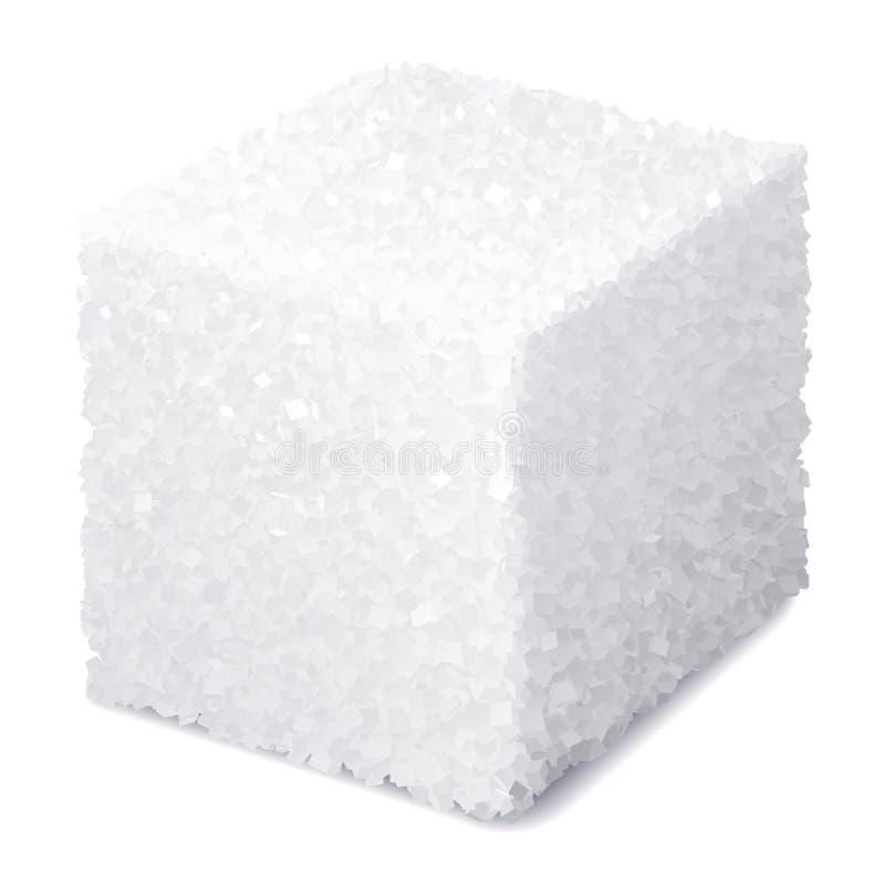 Κύβος ζάχαρης 3d ρεαλιστικός από διανύσματα απομονωμένος σε λευκό φόντο ελεύθερη απεικόνιση δικαιώματος