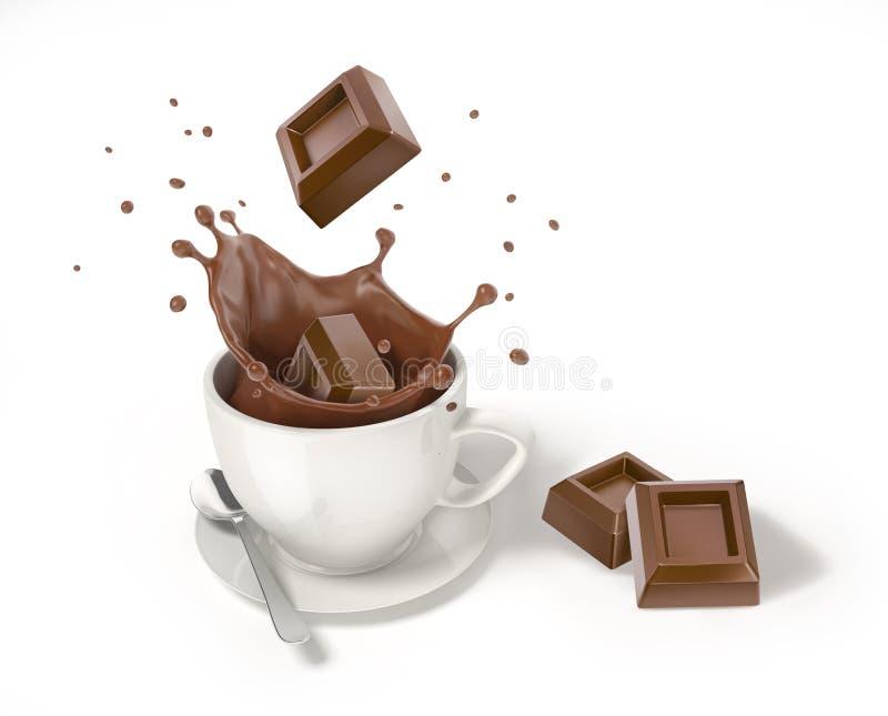 Κύβος σοκολάτας που περιέρχεται σε ένα άσπρο φλυτζάνι με τον υγρό παφλασμό σοκολάτας απεικόνιση αποθεμάτων