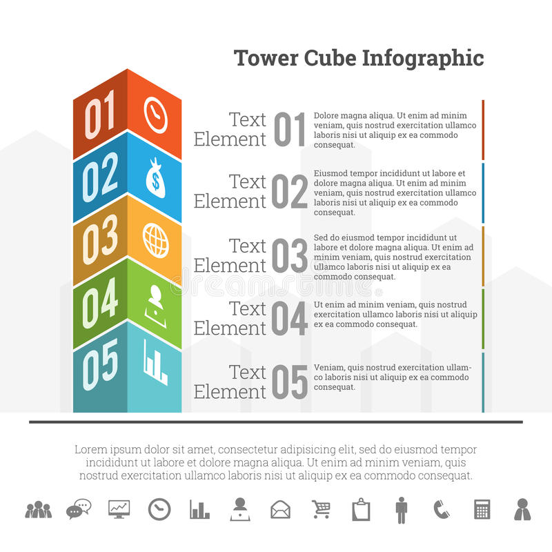 Κύβος Infographic πύργων απεικόνιση αποθεμάτων