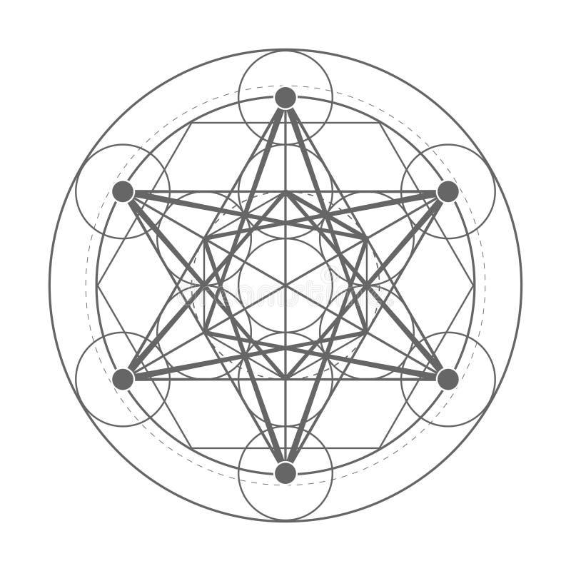 Κύβος Metatrons Ιερή απεικόνιση γεωμετρίας διανυσματική απεικόνιση