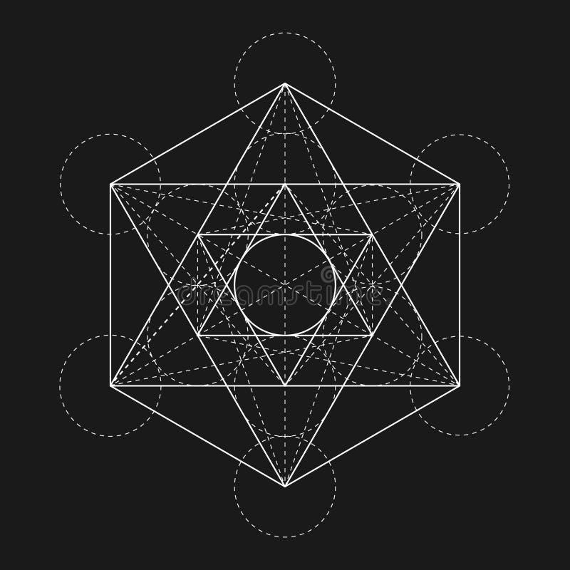 Κύβος Metatrons Λουλούδι της ζωής Ιερός γεωμετρικός διανυσματική απεικόνιση