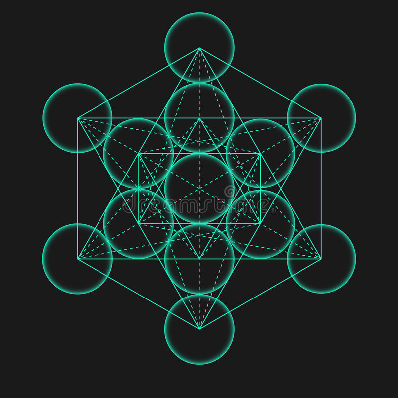 Κύβος Metatrons Λουλούδι της ζωής Ιερός γεωμετρικός απεικόνιση αποθεμάτων