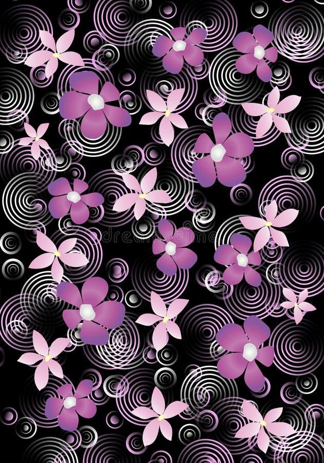 Κύκλοι και λουλούδια στο μαύρο υπόβαθρο στοκ φωτογραφία με δικαίωμα ελεύθερης χρήσης