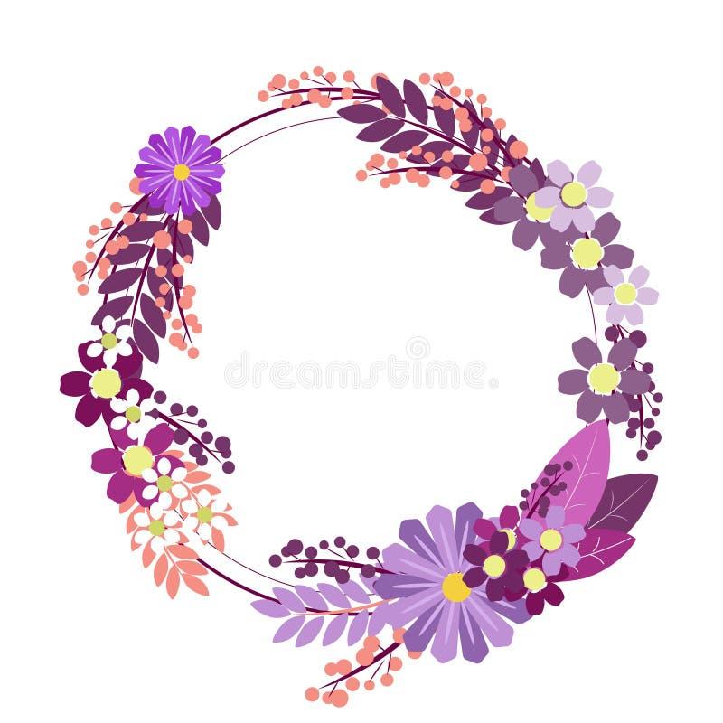 Κύκλος διακοσμήσεων λουλουδιών Στο μινιμαλιστικό ύφος Επίπεδο isometric διάνυσμα ελεύθερη απεικόνιση δικαιώματος