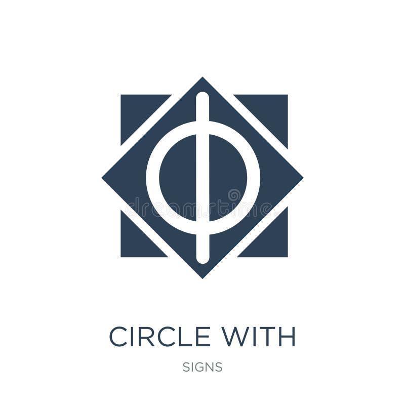 κύκλος με το κάθετο εικονίδιο γραμμών στο καθιερώνον τη μόδα ύφος σχεδίου κύκλος με το κάθετο εικονίδιο γραμμών που απομονώνεται  απεικόνιση αποθεμάτων