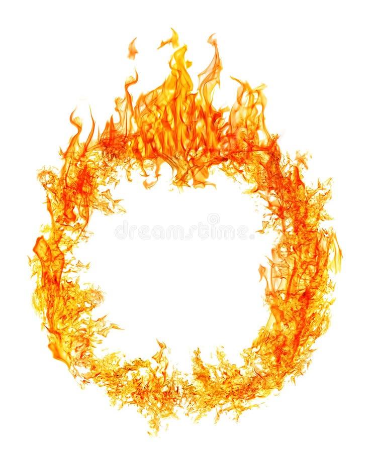 Κύκλος της φωτεινής πορτοκαλιάς φλόγας που απομονώνεται στο λευκό στοκ φωτογραφία με δικαίωμα ελεύθερης χρήσης