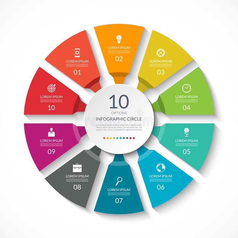 Κύκλος Infographic Διάγραμμα διαδικασίας Διανυσματικό διάγραμμα με 10 επιλογές ελεύθερη απεικόνιση δικαιώματος