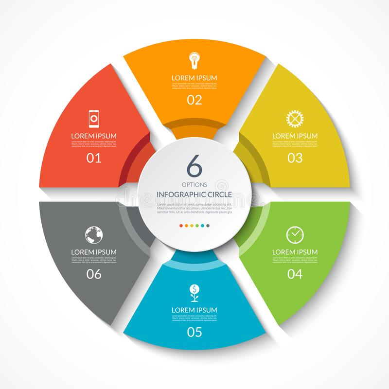 Κύκλος Infographic Διάγραμμα διαδικασίας Διανυσματικό διάγραμμα με 6 επιλογές απεικόνιση αποθεμάτων