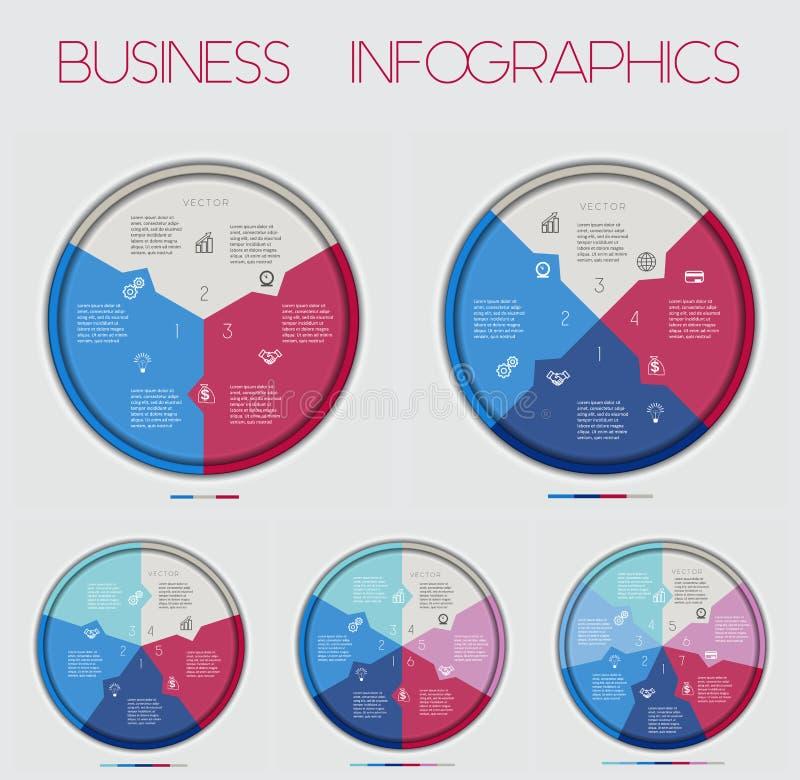 Κύκλος Numbereds του διαγράμματος 3 περιοχής 4 5 6 7 επιλογές, για Infographic, το διάγραμμα, την τεχνολογική διαδικασία, την επι ελεύθερη απεικόνιση δικαιώματος