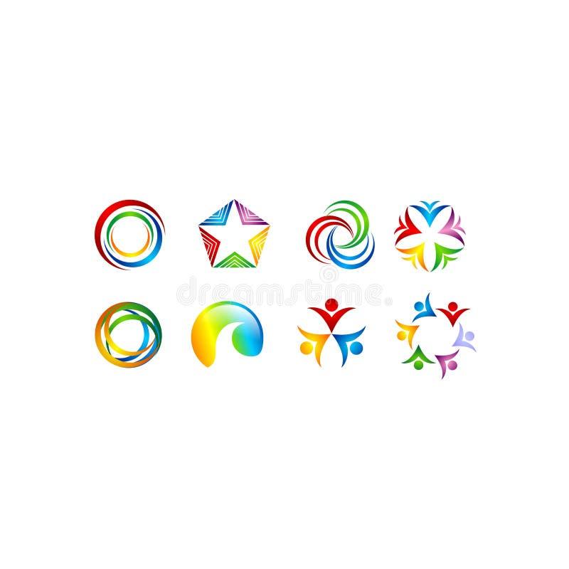 Κύκλων λογότυπων θύελλας άμεσο λογότυπο λογότυπων λογότυπων το ανθρώπινο ενώνει το διανυσματικό σχέδιο τέχνης λογότυπων αστεριών  απεικόνιση αποθεμάτων
