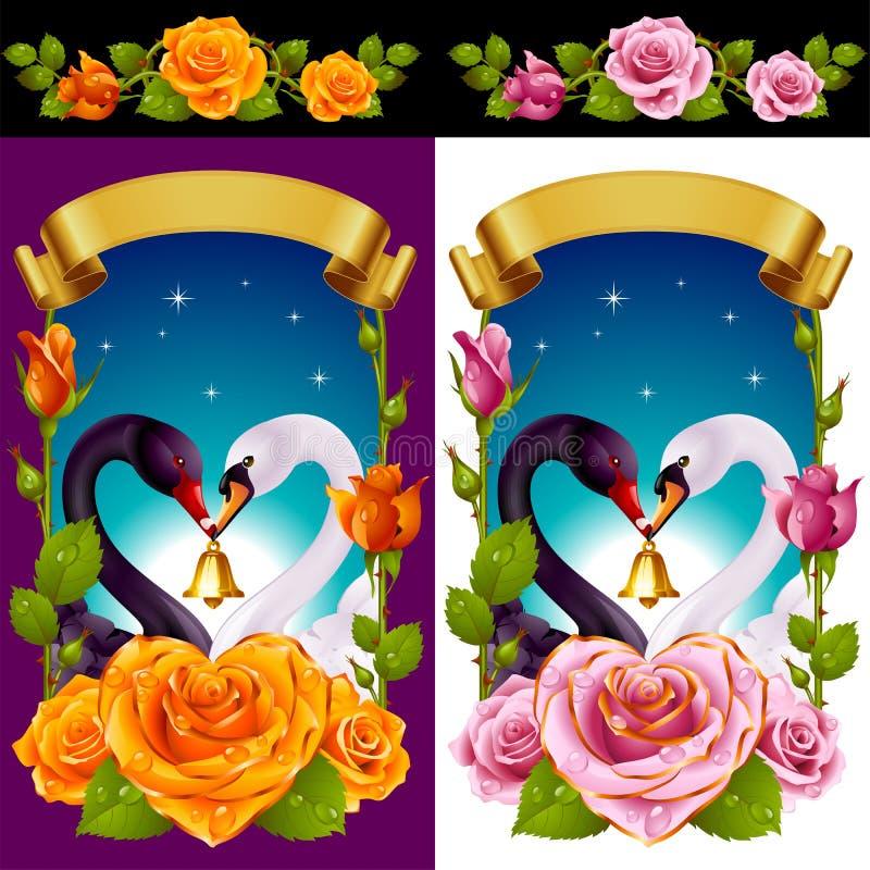 Κύκνοι και τριαντάφυλλα καθορισμένοι διανυσματική απεικόνιση