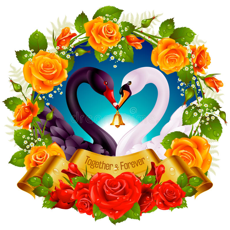 Κύκνοι, τριαντάφυλλα και καρδιές απεικόνιση αποθεμάτων