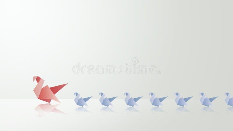 Κύκνος μητέρων με την απεικόνιση origami babys της στοκ φωτογραφία με δικαίωμα ελεύθερης χρήσης