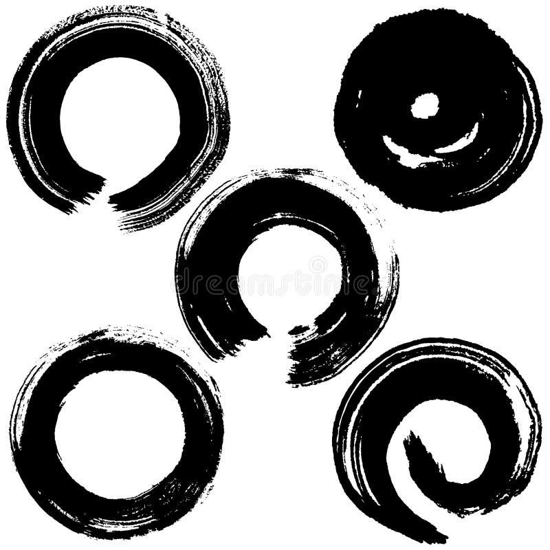 Κύκλοι κτυπήματος βουρτσών διανυσματική απεικόνιση