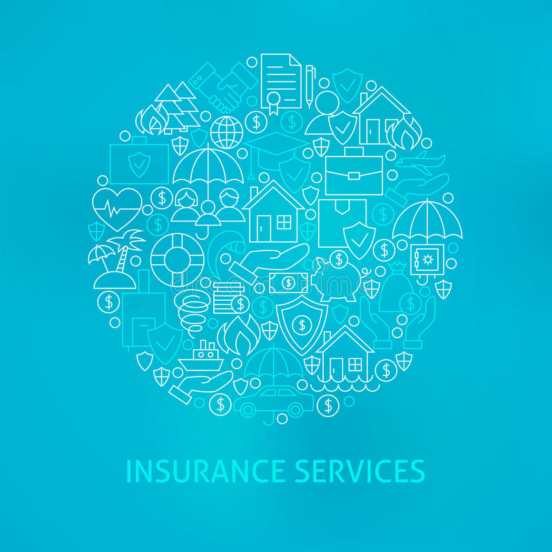 Κύκλος εικονιδίων ασφαλιστικών υπηρεσιών γραμμών απεικόνιση αποθεμάτων