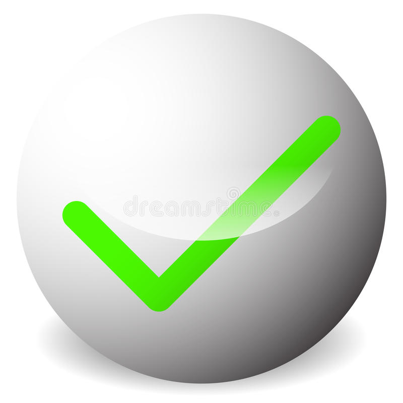 Κύκλος με τον κρότωνα, σύμβολο σημαδιών ελέγχου Εγκρίνετε, διορθώστε, δεχτείτε, ρ ελεύθερη απεικόνιση δικαιώματος