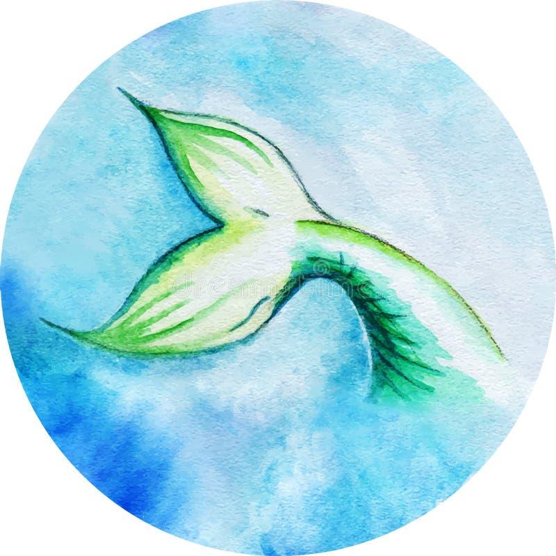 Κύκλος ουρών ψαριών γοργόνων Watercolor που απομονώνεται διανυσματική απεικόνιση
